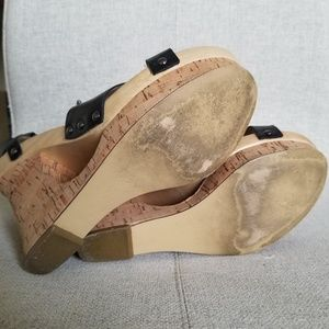 Guess Shoes - Guess Gweille Black Leather Wood/Cork Wedges
